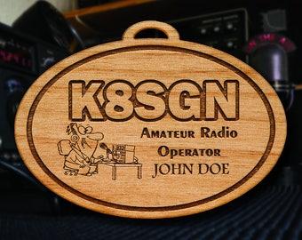 Wooden Ham Radio Ornament
