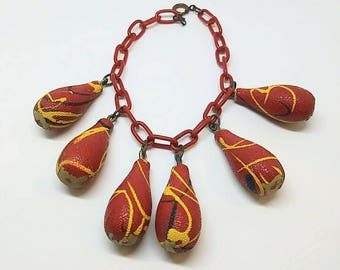 1940s Celluloid Chain Link Red Charm Bracelet As Is