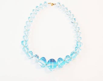 Baby Blue Lucite Graduated Bead Necklace
