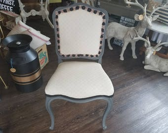 Refurbished French Provencial Chairs Grey & Cream   Local Pickup Only!!