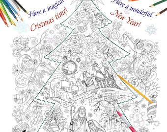 Gigant Poster Coloring Book Merry Christmas Black And White Illustration Big