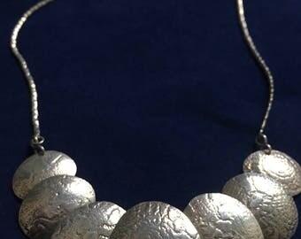 Vintage Retro Ornate Sterling Disc Necklace