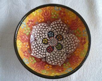 "Yellow Ceramic Bowl, Turkish ceramic bowl, small bowl, 5"" bowl, desert bowl, amber bowl, trinket bowl, prep bowl, pearl design"