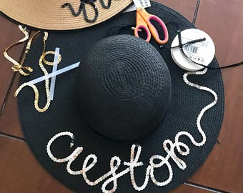 Custom / Personalized Sequin Floppy Straw Sun Hat // gift for her // vacation // bachelorette // bridesmaid gift // honeymoon // beach