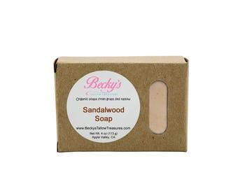ORGANIC Grass Fed Tallow Soap -- Sandalwood -- Tallow Soap -- Organic Soap -- 4oz