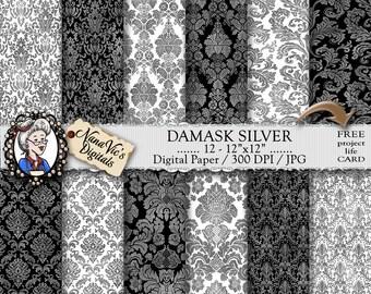 Damask Digital Paper, Silver seamless wedding backgrounds, Damask texture, Scrapbooking  photography damask back drop, Damask pattern