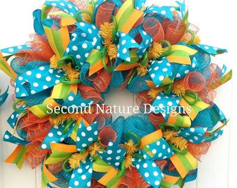 Bright Colorful Summer Deco Mesh Wreath / Everyday Deco Mesh Wreath