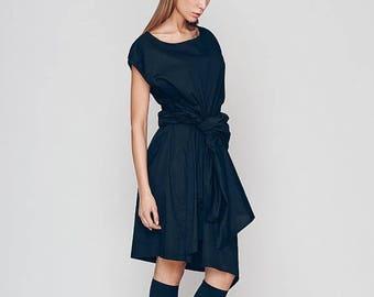Dresses On Sale New Spring Women's Tunic, Black Tunic Dress, Loose Fit Dress, Cotton Tunic Dress, Pleated Dress, Wrap Dress, Club Dress, Coc