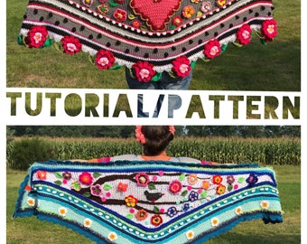 Nl/US/UK tutorial pattern how to design and crochet a #polleviewrap