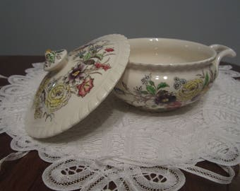 JOHNSON BROS, Windsor Ware, Garden Bouquet, two handled sugar bowl, soup or mini casserole, catch-all,mailed from Canada