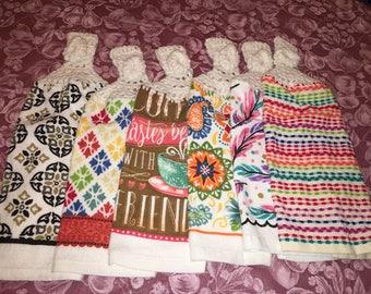 Dishtowels with Crochet Tops