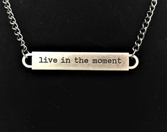 Live in the Moment Bar  Necklace \\ Gunmetal Jewelry \\ Gunmetal Chain