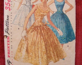 ON SALE 35% OFF 1955 Misses' Full Skirted Formal Dress Simplicity Sewing Pattern 1153 Size 14 Bust 32""