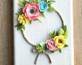 Felt Flower Wreath, Fall Wreath, Fall decor, wall hanging, felt flowers, hostess gift, bedroom decor, holiday decor