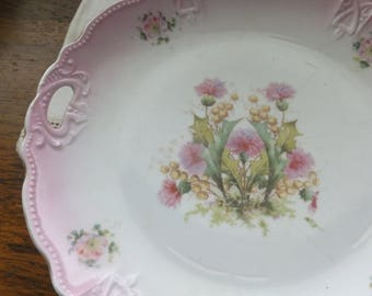 LOVELY THISTLE CAKEPLATE.  Unmarked.  Vintage.  1900s. Shabby Cottage