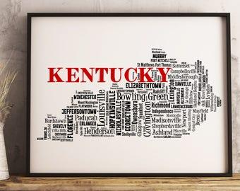 Kentucky Map Art, Kentucky Art Print, Kentucky City Map, Kentucky Typography Art, Kentucky Wall Decor, Kentucky Moving Gift