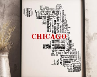 Chicago Map Art, Chicago Art Print, Chicago Neighborhood Map, Chicago Typography Art, Chicago Wall Decor, Chicago Moving Gift