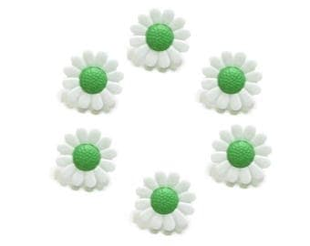6 buttons 13 mm Green and white daisy flowers