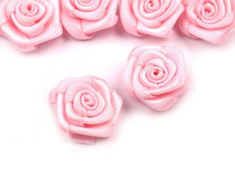 10 small pink flowers light pink satin 15 mm