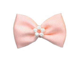 4 small satin ribbon bow orange peach and pearls