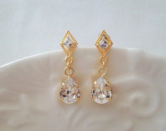 Small gold diamond crystal earrings with swarovski crystal drops