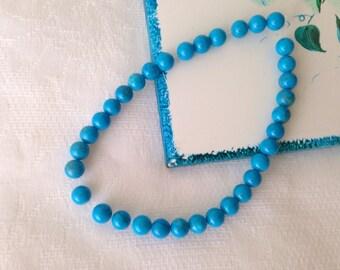 Turquoise dyed howlite round stone beads 6mm 10pcs