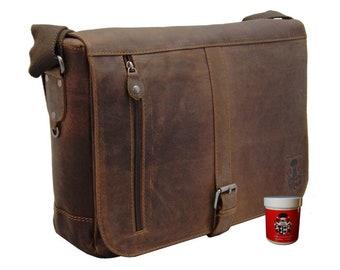 Big shoulder bag – laptop case FRANKLIN made of brown leather