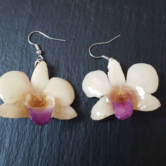 Small Real orchid flower Dendrobium earrings in cream and purple