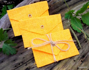 10 Bright Yellow Linen Envelopes Flax Burlap Usb Pouches Earrings Envelopes Rings Bags
