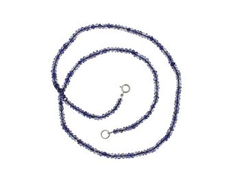 3.5 mm Iolite Faceted  Rondelle Necklace, Iolite Gemstone Necklace With Sterling Silver Clasp