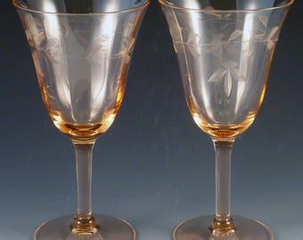 Leaf Spray Cut Pink Depression Glass Goblets Set of 6 Wine Water Stemware Vintage Older Style Elegant Antique Glassware Etched Crystal
