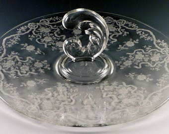Fostoria Romance Etched Crystal Center Handled Server Sonata Blank Ribbons Bows Sandwich Serving Tray Handle CHS Clear Vintage Elegant Glass