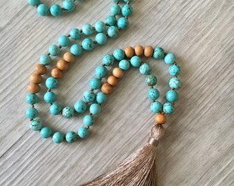 Grattitude ~ Turquoise Magnesite & Sandalwood ~ 108 bead, hand knotted mala necklace, tassel necklace, chakra, yoga, meditation beads
