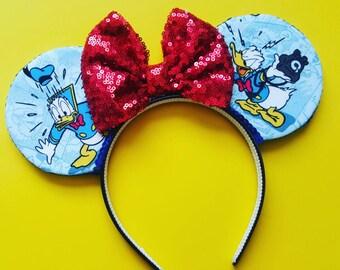 Donald Duck Mouse Ears     Donald Ears    Mouse Ears Headband    Mickey Mouse Ears    Sparkle Mouse Ears    RTS