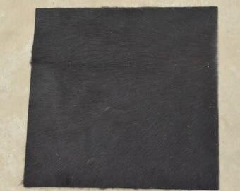"Black/Dark Brown Leather Hair on Cow Hide 12"" x 12"" Pre-cut TA-58427 (Sec. 1,Shelf 6,A)"