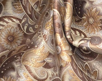 "Fashion Paisley & Posies Light Brown On Cream Leather Cow Hide 12"" x 12"" Pre-cut 2 1/2 oz BR-62961 (Sec. 6,Shelf 3,C)"
