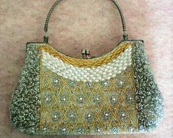 Beaded and Rhinestone Evening Bag Purse - 5830