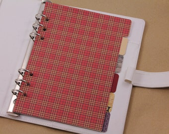 A5 planner dividers, dividers set for Filofax A5, 6 cardboard pattern dividers with side tabs, planner accessory