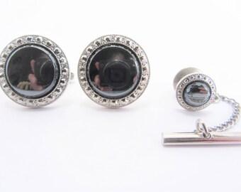 2 Pc Vintage Foster Cufflink and Tie Tac Set Hematite Silver Tone