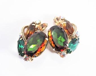 Verified Juliana Watermelon Rhinestone Earrings Vintage Clip On