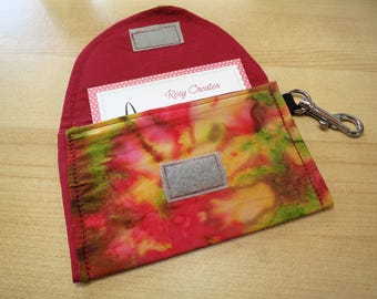 Fabric business card holder case multi-color rainbow with clip