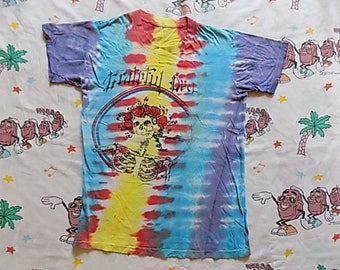 Vintage 80's Grateful Dead Tour T shirt, size Small 1987 tie dyed Deadhead concert tee