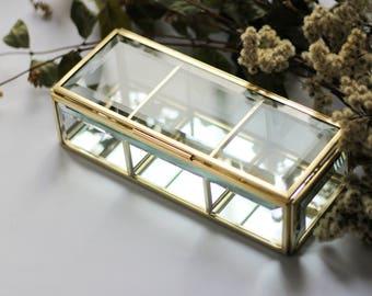 Rectangular brass Big box, golden box, Ring box, Rectangular box, brass geometric box, casket with sections, jewelry box, jewelry display