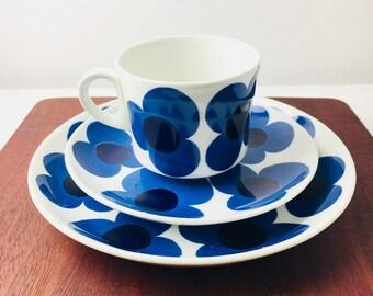 "RARE vintage Arabia Finland ceramic coffee cup set named ""Aurinko"", designed by Esteri Tomula / Göran Bäck, 1970s, Made in Finland"