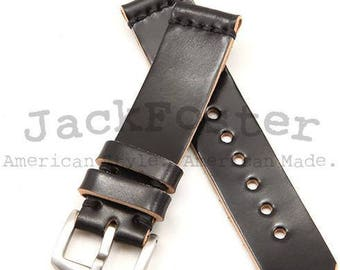 Standard Watch Strap with Black Horween Shell Cordovan Leather
