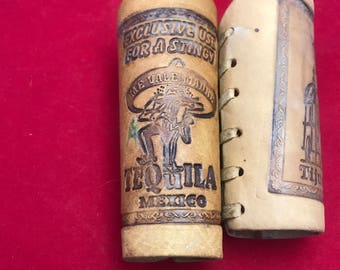 """N002 Leather shot glass sleeves,holders,covers, Mexico,Tijuana,Tequila,stingy,cathedral,4""""tall,brown,"""