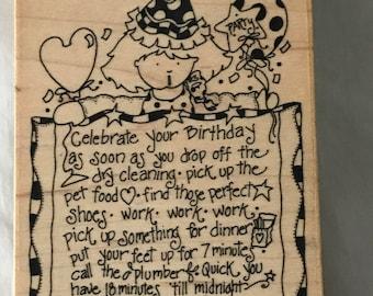 D019 Birthday Girl rubber stamp
