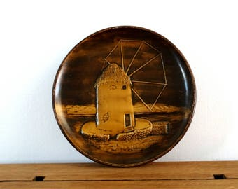 Windmill, Ceramic Plate, Pottery Plate, Ceramic Wall Hanging Plate, Windmill Decor, Decorative Plate, Ceramic Wall Plate, Ceramic Tray