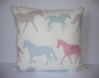 Pillow - Horses design feature cushion, complete with cushion pad, zip fastening