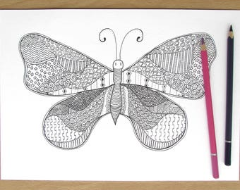 Zentangle Butterfly - A4 Downloadable Colouring Page, Printable, PDF Download, Adult Colouring, Relaxation, Mindfulness